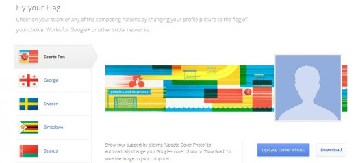 FlagGoogle 520x239 Google launches online London Olympics hub, reeling in content from across all its products