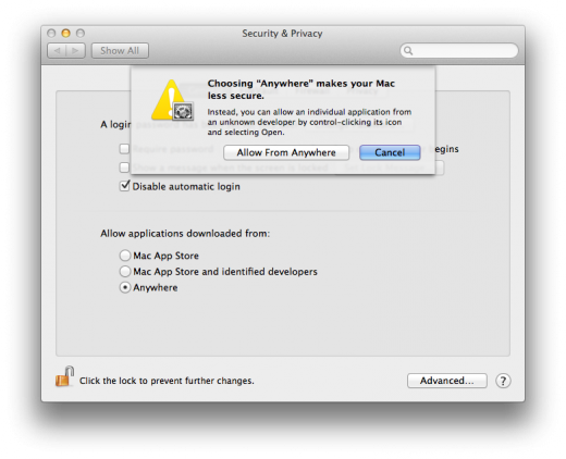 Gatekeeper Allow from anywhere warning 520x422 TNW Review: OS X 10.8 Mountain Lion