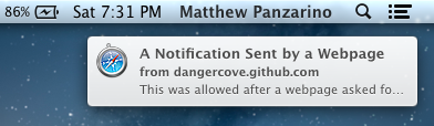 Notification from a website TNWs Complete Guide to Notifications in OS X 10.8 Mountain Lion