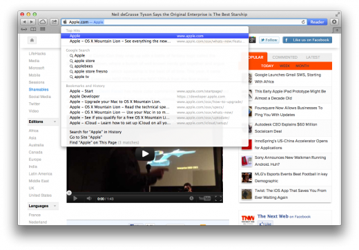 Safari Smart Search Field 520x362 TNW Review: Safari 6.0 is the best version of Apples browser yet