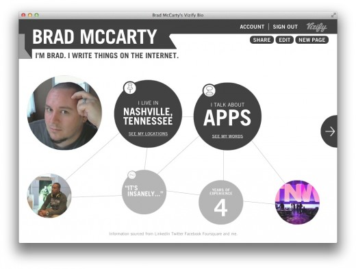 Screen Shot 2012 07 26 at 10.05.51 AM 520x393 Forget About.me, Vizify is your new online profile of choice [Invites]