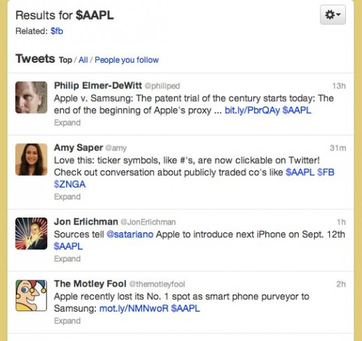 Twitter   Search AAPL 520x489 Twitter rolls out clickable stock symbols, or Cashtags, so you can keep up with your investments