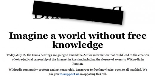 Wikipedia the free encyclopedia 520x266 Proposed Internet crackdown in Russia leads to Wikipedia blackout in protest
