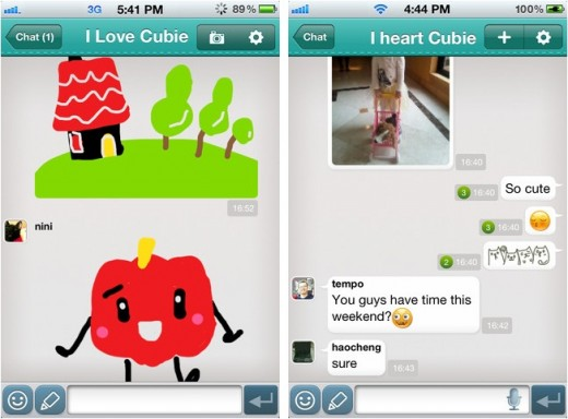 cubie screens 520x384 With 2 million downloads in its first three months, Cubie shows mobile messaging has a big future