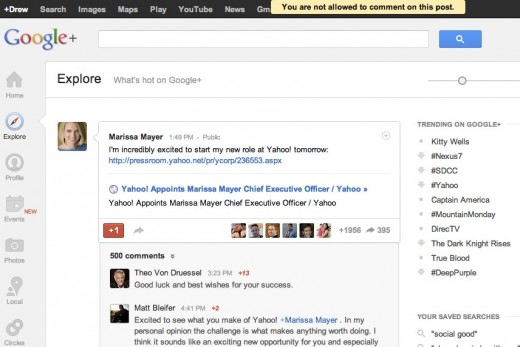 exploregoogleplus 520x347 Want to congratulate Marissa Mayer on her new gig via her Google+ post? You cant