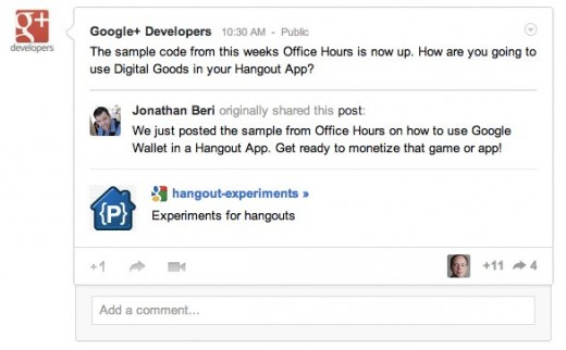 googlehangoutsmonetize 520x322 Monetizing Google+ Hangouts? Digital goods for apps are being tested by developers