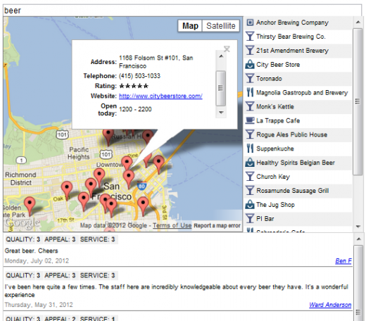 googlemapsdemo 520x456 Developers get more context as Google Reviews, search and more is added to Google Places API