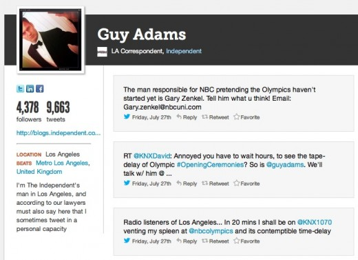 guy adams tweets 520x377 Why did Twitter suspend this vocal critic of NBCs delayed Olympics coverage?