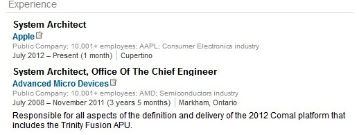 linkedinapple Apple increases focus on processor technology with appointment of former AMD system architect