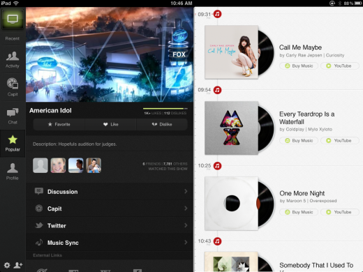 music sync 520x390 IntoNow 3.0 brings music identification, screenshots and group chats