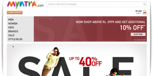 myntra 520x261 Indian fashion e tailer Myntra tipped to raise $25m to scale up its operations