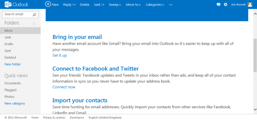 o0IMX 520x246 Outlook.com gets platform agnostic: lets you connect Twitter for tweets and Facebook for messages