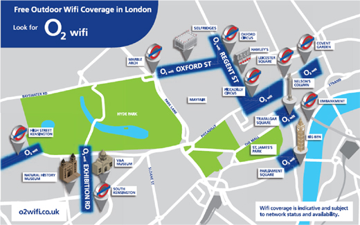 o2map520 Free Wifi from O2 opens up across London landmarks from today