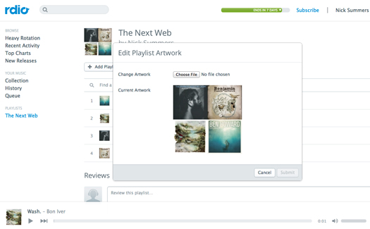rdio Rdio hack day project lives on to let you add custom artwork to your playlists