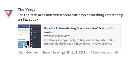 the verge Facebook is rolling out an Instapaper style save it later feature