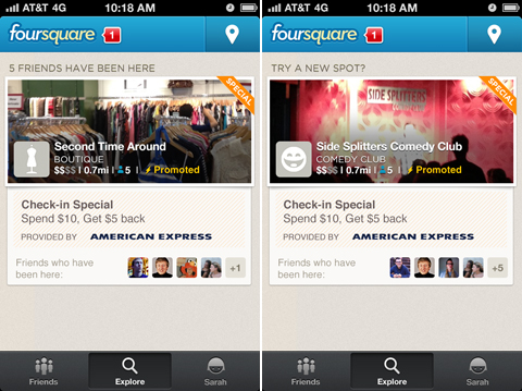 Foursquare now offers American Express spend $10, get $5 specials at over 100k businesses