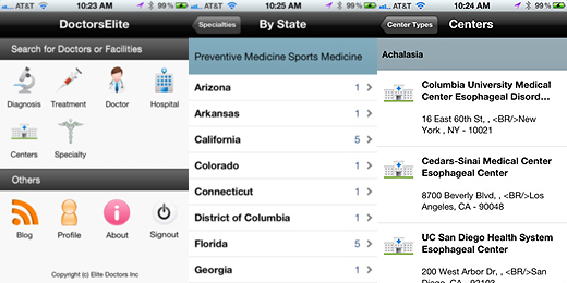 DE520a copy DoctorsElite iPhone app brings medical records and physician choices to patients