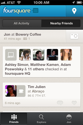 FSQ1 Foursquare fans rejoice: Nearby Friends is back on iOS and BlackBerry, Android to follow