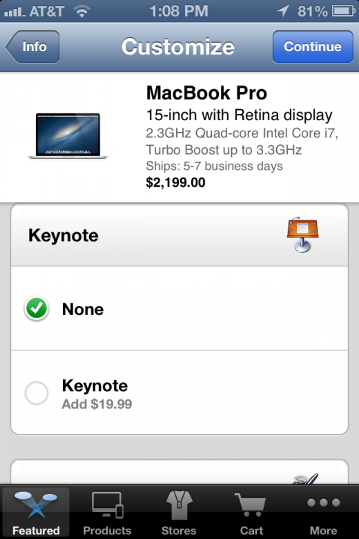 Photo Aug 02 1 08 32 PM 520x780 Apple Store app now lets you order Macs with Pages, Keynote and Numbers pre installed
