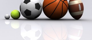 Five different sports on light grey background - 3d render