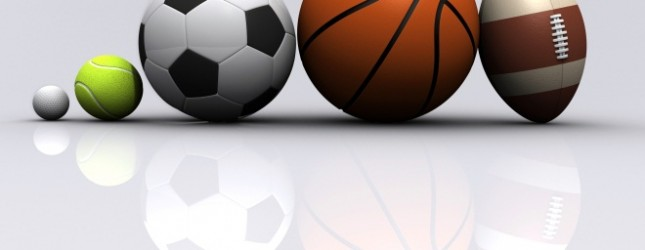 Five different sports on light grey background – 3d render