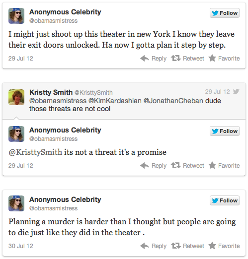 Screen Shot 2012 08 07 at 10.50.41 AM Twitter withholds information from the NYPD after troll threatens Aurora copycat murder