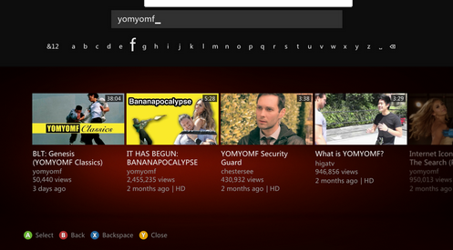 Screen Shot 2012 08 28 at 7.17.03 AM YouTube updates its Xbox app: 5X faster and has channels with official music videos