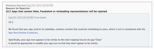 Screen Shot 2012 08 30 at 12.06.00 PM 520x167 Apple may now be rejecting some App Store submissions if they clone icons of popular apps
