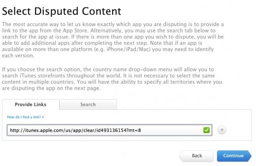Screen Shot 2012 08 31 at 10.58.31 AM 520x337 Apple launches new app and iTunes content infringement, copyright claims tools