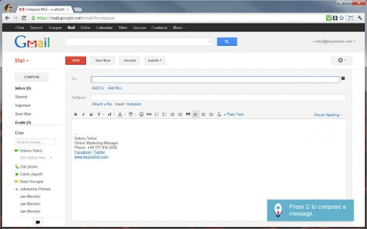 how to show new mail gmail shortcut