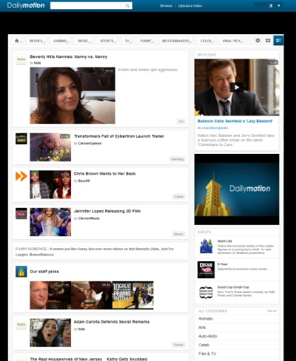 dailymotion home 2 Dailymotion now gives users a choice for their homepage layout, hoping to increase engagement
