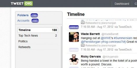 f1 520x260 TNW Pick of the Day: TweetDig tidies your Twitter stream by sorting tweets into custom folders