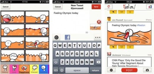 feel on 333333 520x250 Japanese Twitter app Feel On brings its comic book craziness to iOS