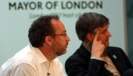 "jimmywales and nico macdonald520 ""Stay out of the way so that we can build a future"" Jimmy Wales talks politics and tech for London"