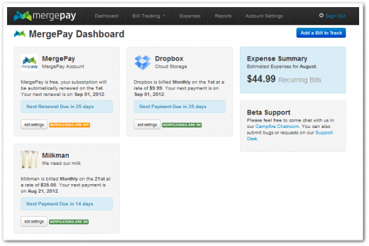 mergepay1 billsbillsbills 520x346 Now in open beta, MergePay is a super simple way to track and manage your bills