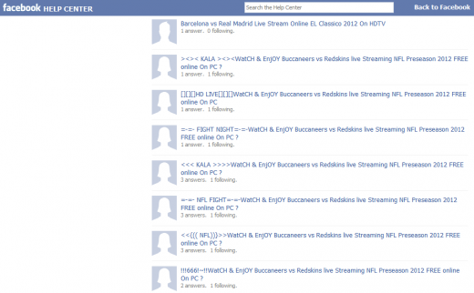 more facebook help center spam 520x322 Facebook tries to stop spam from flooding its help forum, fails