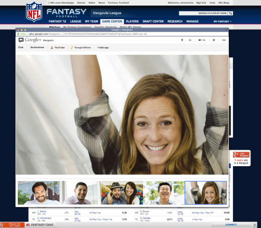 nfl gamecenter 520x454 Hangouts breaks out of Google+, will power NFL.com fantasy football experience