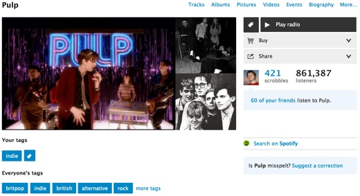 pulp Last.fm rolls out redesigned artist, album and track pages to all users