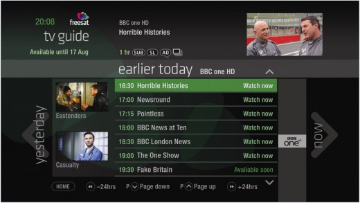 TV Guide Lo res 520x293 Your move, YouView: Freesat launches a new UK catch up TV service