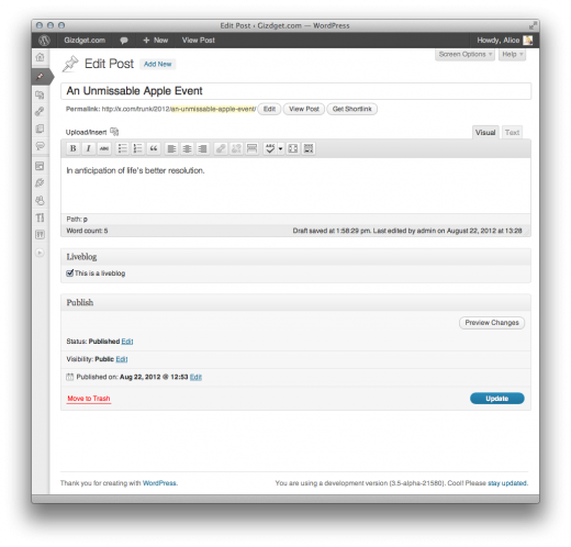 screenshot 7 520x498 WordPress.org users can now turn any post into a liveblog with Automattics new plugin