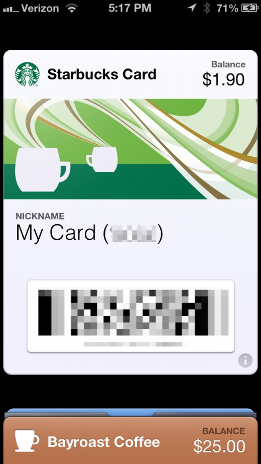 1FF0D929 62BC 4EA8 9A0F 3FA8FCB3D156 520x923 Starbucks app for iPhone adds Apple Passbook support, and it nails it