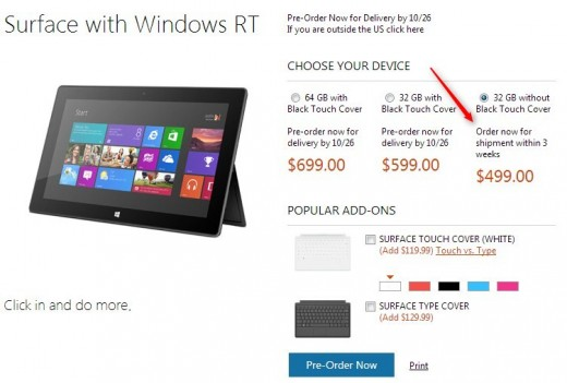 2012 10 16 17h17 32 520x351 Microsoft Surface RT 32 gb model sans Touch Cover now shipping within 3 weeks in the US