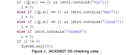 Code jacksbot1 Jacksbot Java malware can take control of Windows, Mac, and Linux systems