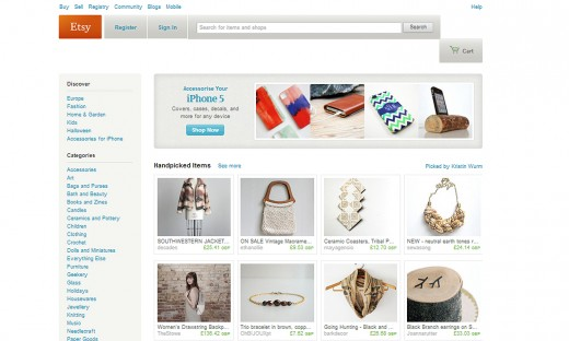 Etsy home page 520x312 Etsy targets the UK market with 2 million uniques per month and 3 million sales set for the holiday season