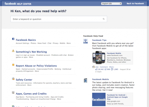 Facebook HelpCenter Before 520x373 Facebook revamps its Help Center to actually give you the answers you want