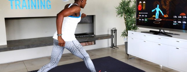 Team GB's Perri Shakes-Drayton working out with the Nike + Kinect Training.