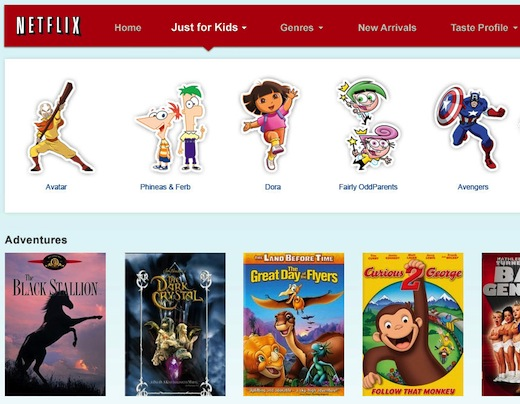 "Netflix JustForKids US Netflix brings the ""Just for Kids"" user interface to the iPad, Android tablet support forthcoming"