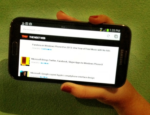 NoteIIHorizontal 520x402 Review: The Samsung Galaxy Note II is a promising, if not perfect, mix of tablet and phone