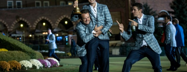 Team Europe's Graeme McDowell (L) of Northern Ireland, Martin Kaymer (C) of Germany and Justin Rose of England pose with the Ryder Cup after the final day of the 39th Ryder Cup at the Medinah Country Club September 30, 2012 in Medinah, Illinois. Europe produced the greatest comeback in Ryder Cup history to reel in the United States and retain the trophy.  AFP PHOTO/Brendan SMIALOWSKI        (Photo credit should read BRENDAN SMIALOWSKI/AFP/GettyImages)