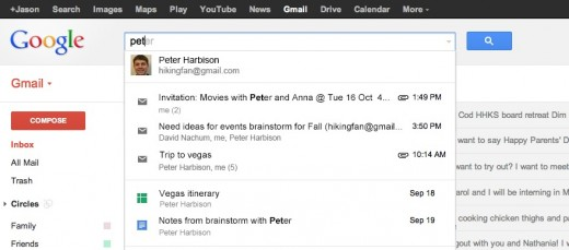 Screen Shot 2012 10 15 at 2.51.36 PM 520x229 Google expands trial for including Gmail results in search box, now includes Google Drive as well